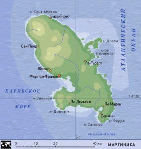 Карта Мартиники с курортами