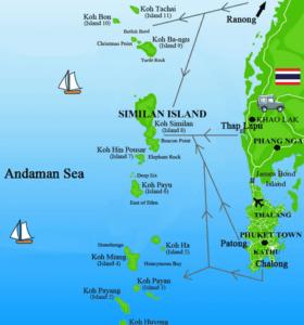 Карта Симиланских островов в Тайланде